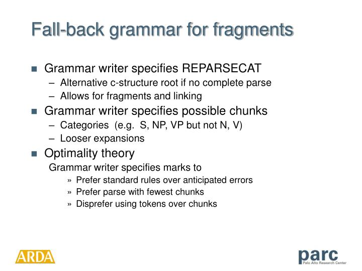 Fall-back grammar for fragments