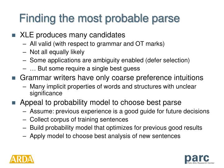 Finding the most probable parse