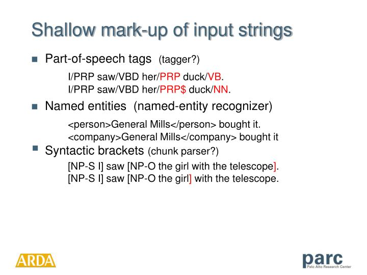 Shallow mark-up of input strings