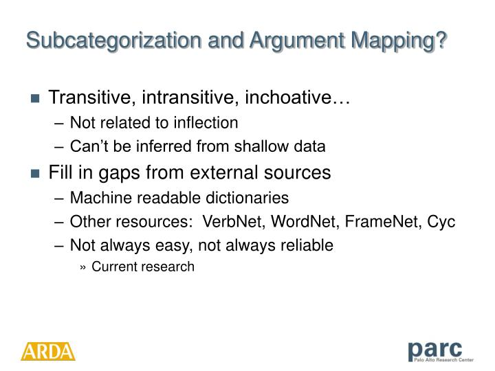 Subcategorization and Argument Mapping?