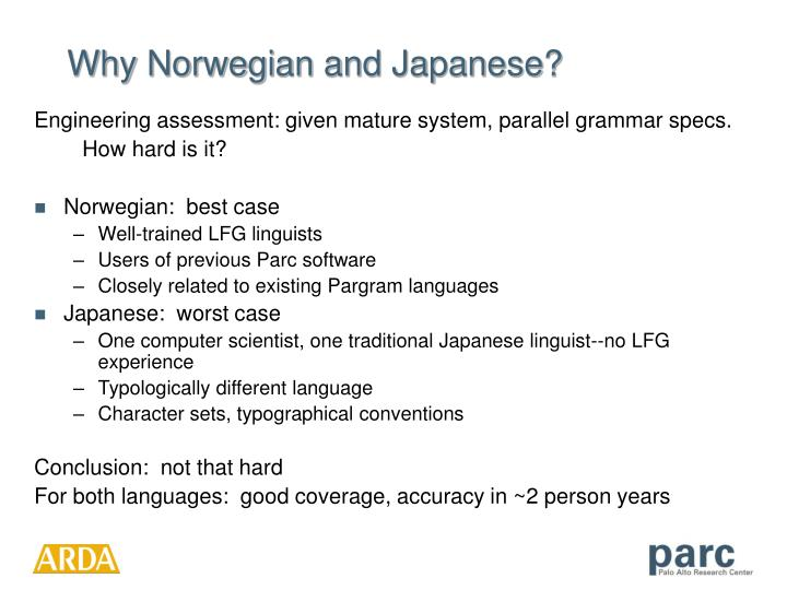 Why Norwegian and Japanese?