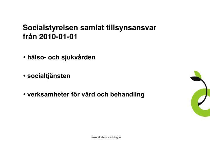 Socialstyrelsen samlat tillsynsansvar