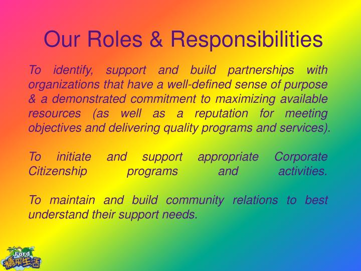 Our Roles & Responsibilities