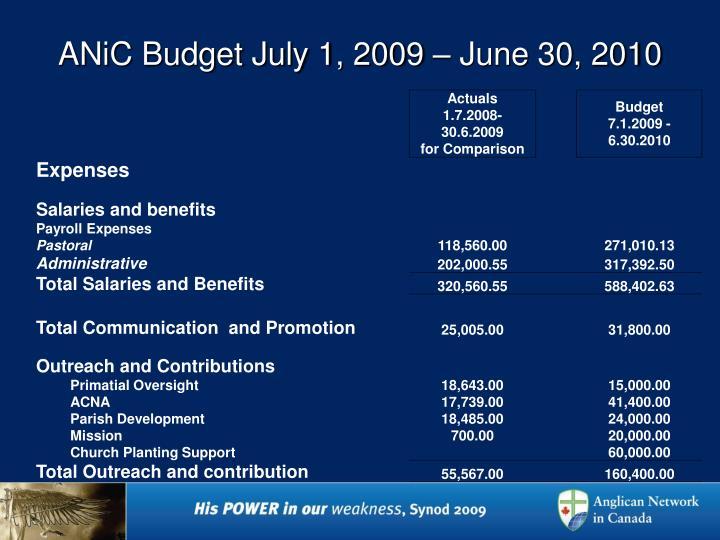 Anic budget july 1 2009 june 30 20101
