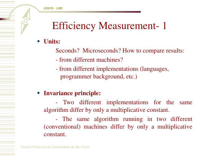 Efficiency Measurement- 1