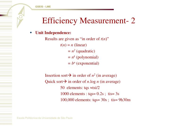 Efficiency Measurement- 2