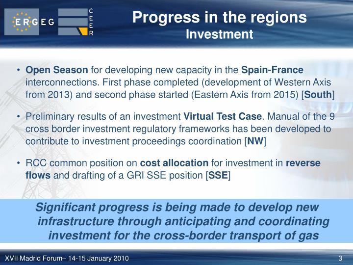 Progress in the regions