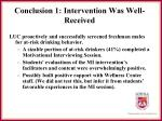 conclusion 1 intervention was well received