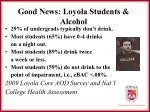 good news loyola students alcohol