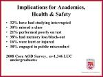 implications for academics health safety