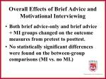 overall effects of brief advice and motivational interviewing