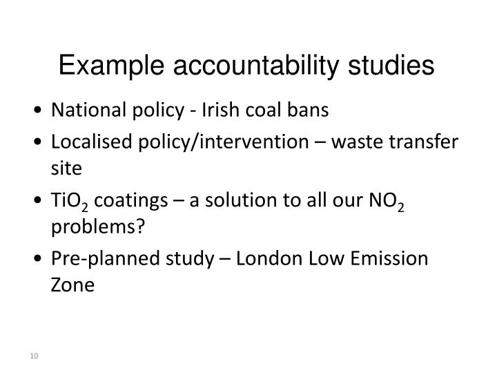 Example accountability studies