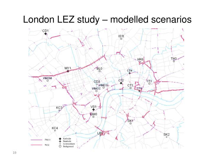 London LEZ study – modelled scenarios