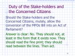 duty of the stake holders and the concerned citizens