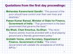 quotations from the first day proceedings
