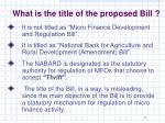 what is the title of the proposed bill
