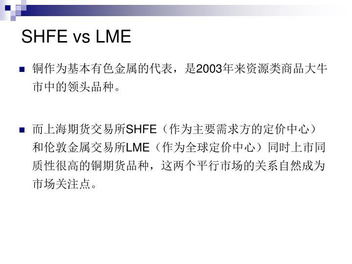 SHFE vs LME