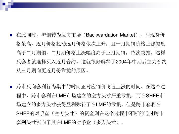 在此同时,沪铜转为反向市场(