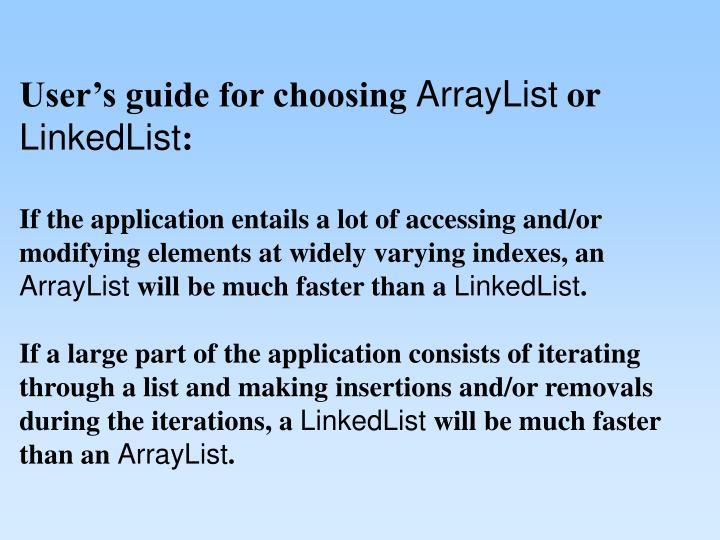 User's guide for choosing