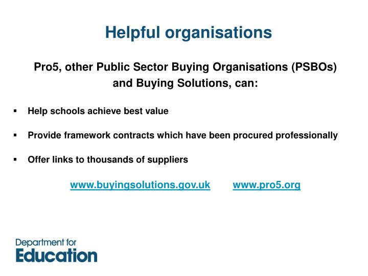 Helpful organisations