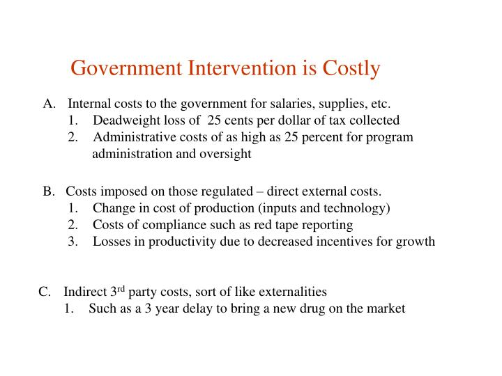 Government Intervention is Costly