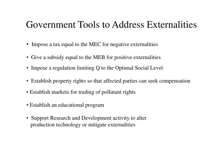 Government Tools to Address Externalities