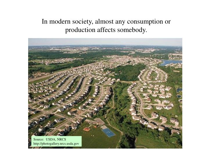 In modern society almost any consumption or production affects somebody