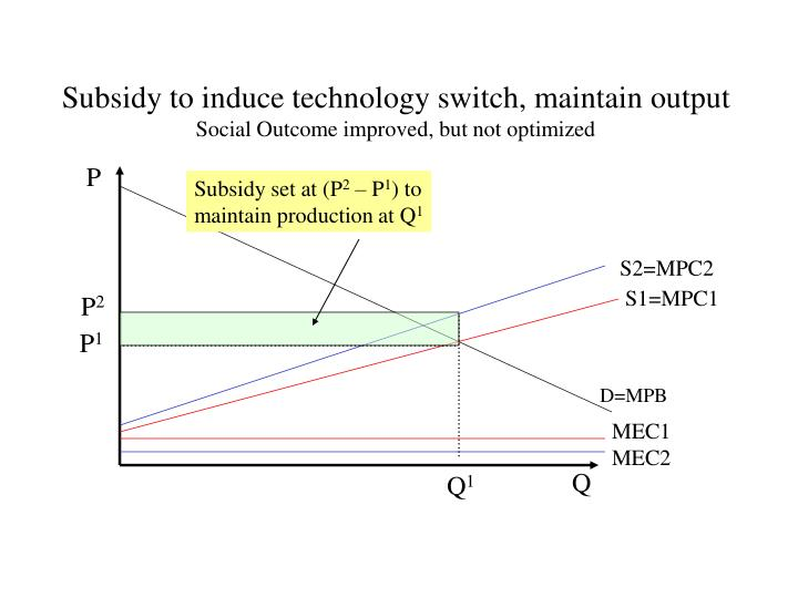 Subsidy to induce technology switch, maintain output