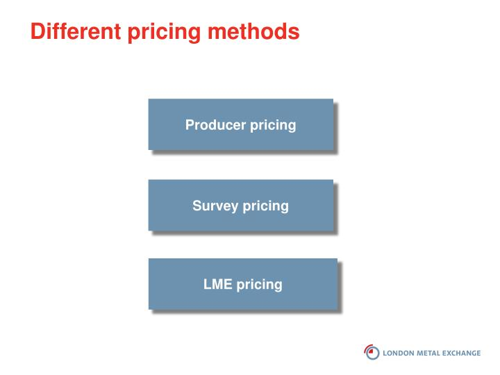 Different pricing methods