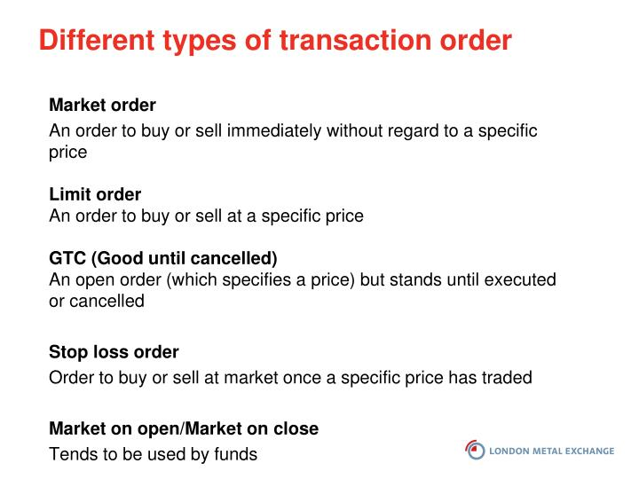 Different types of transaction order