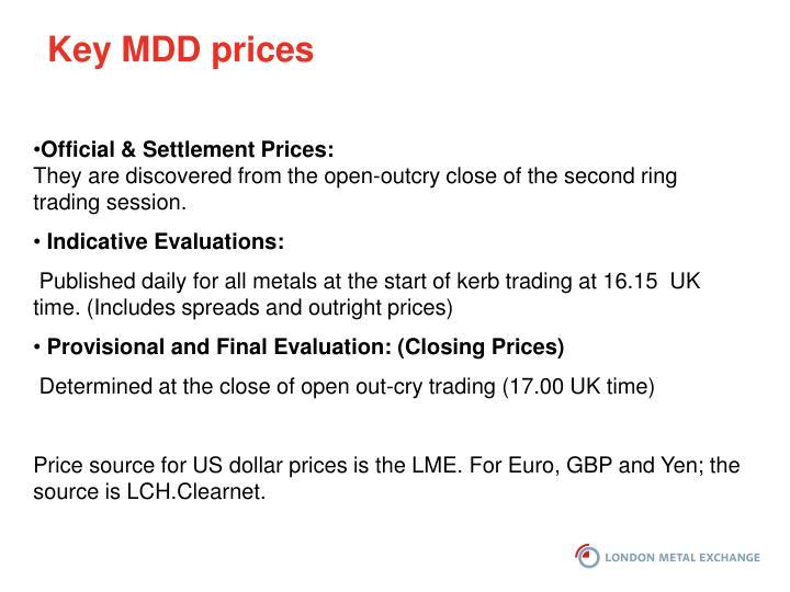 Key MDD prices