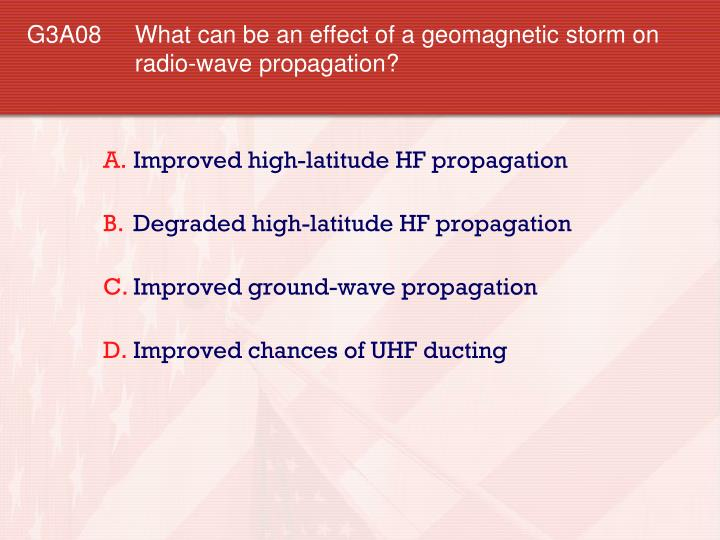 G3A08 What can be an effect of a geomagnetic storm on radio-wave propagation?
