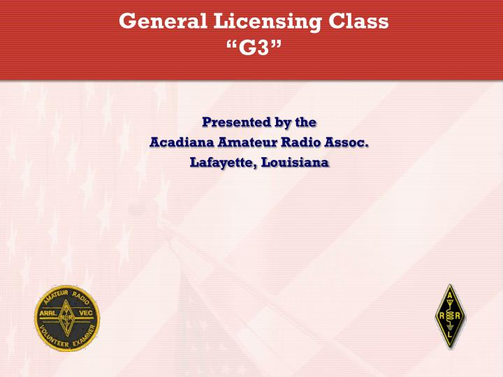 General licensing class g3