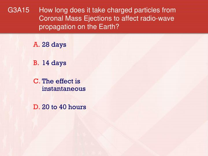 G3A15 How long does it take charged particles from Coronal Mass Ejections to affect radio-wave propagation on the Earth?