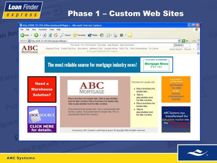Phase 1 – Custom Web Sites