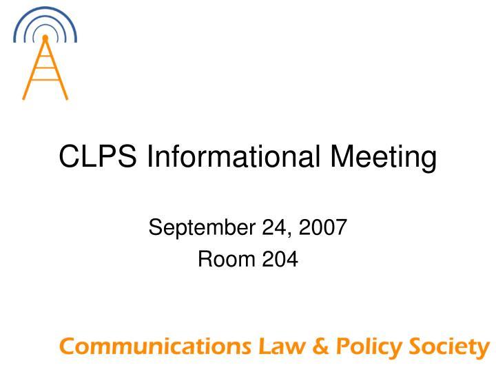 clps informational meeting n.