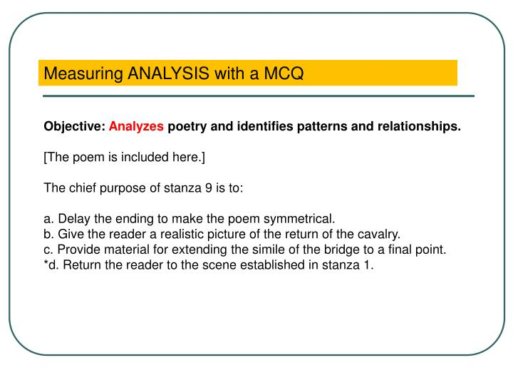 Measuring ANALYSIS with a MCQ
