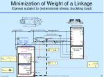 minimization of weight of a linkage x area subject to extensional stress buckling load