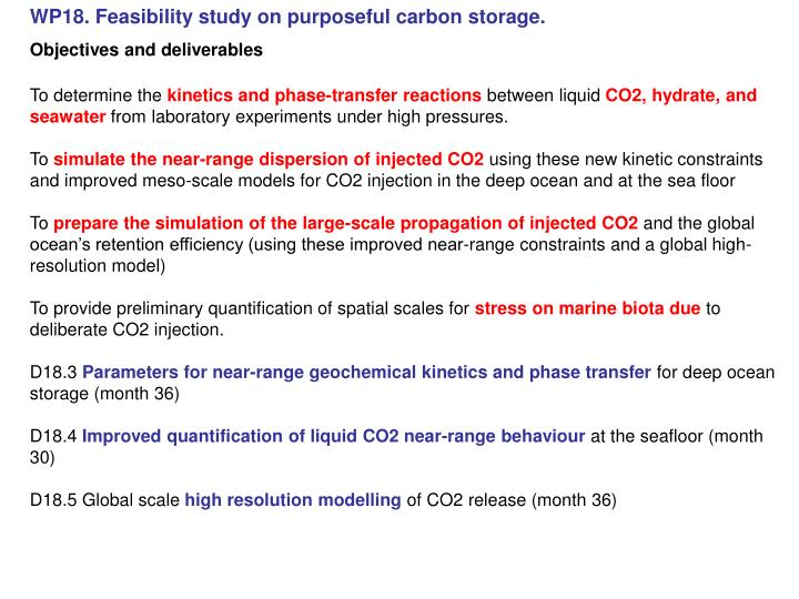 WP18. Feasibility study on purposeful carbon storage.