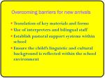 overcoming barriers for new arrivals