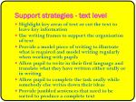 support strategies text level