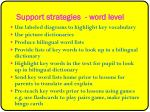 support strategies word level