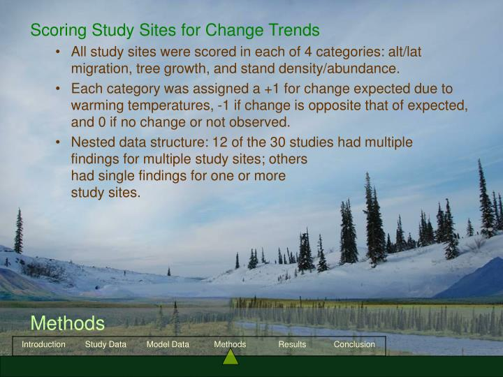 Scoring Study Sites for Change Trends