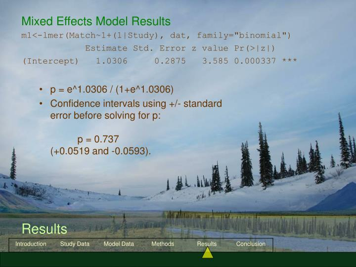 Mixed Effects Model Results