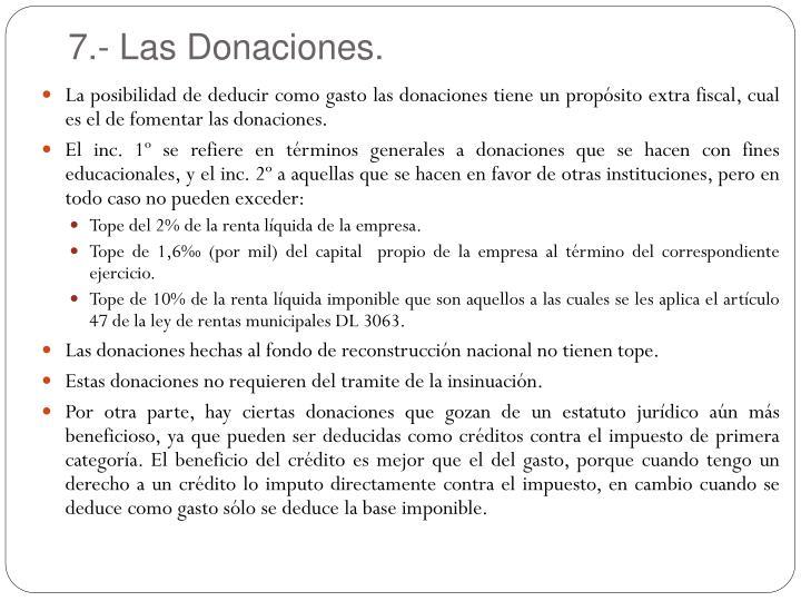 7.- Las Donaciones.