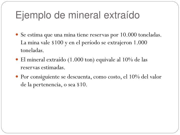 Ejemplo de mineral extraído