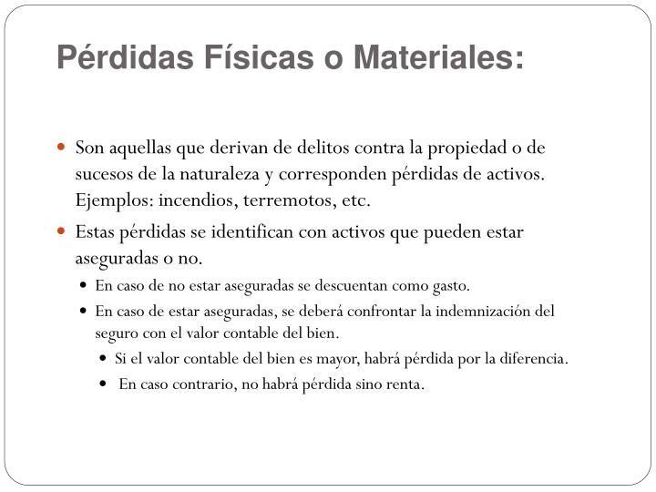 Pérdidas Físicas o Materiales: