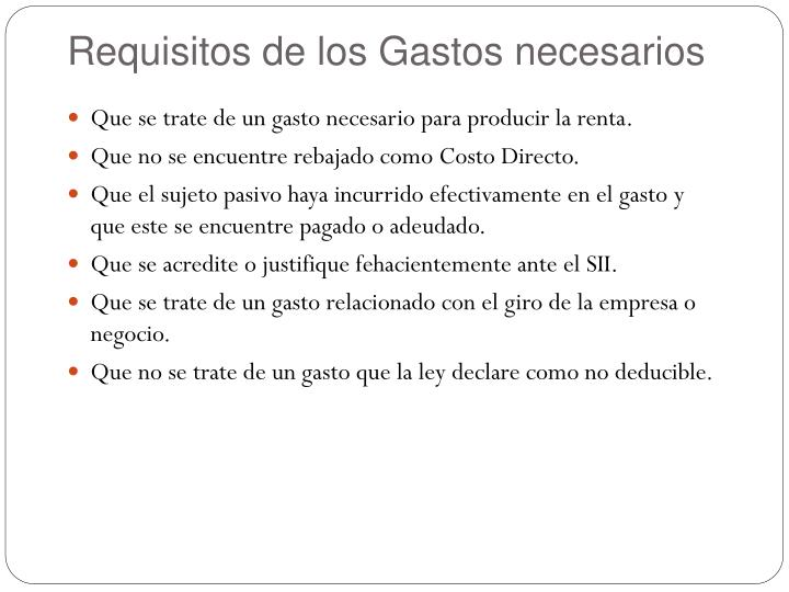 Requisitos de los Gastos necesarios