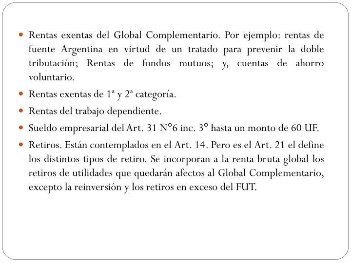 Rentas exentas del Global Complementario. Por ejemplo: rentas de fuente Argentina en virtud de un tratado para prevenir la doble tributación;