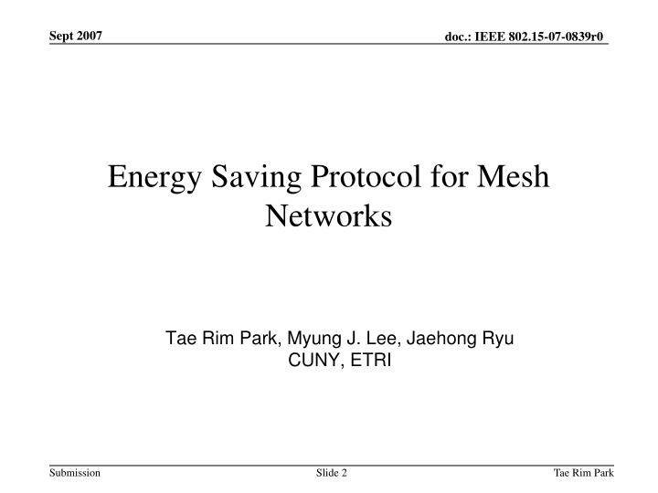 Energy saving protocol for mesh networks